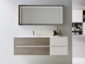 IDEAGROUP NYU mobile bagno moderno sospeso bicolor componibile cm 137.5