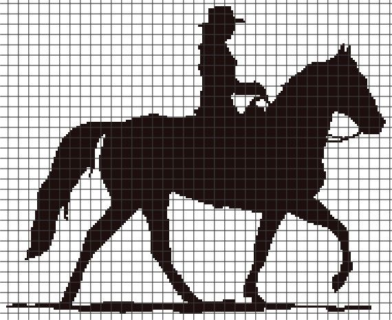 Cowgirl Riding Crochet Graphghan Pattern (Chart/Graph AND Row-by-Row Written Instructions)