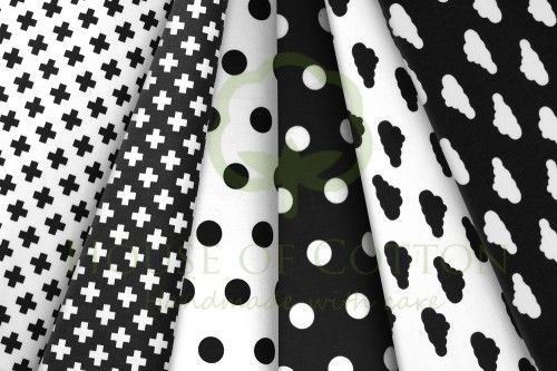 Black & white polka dot, crosses and clouds cotton fabric set / Zestaw czarno-biały