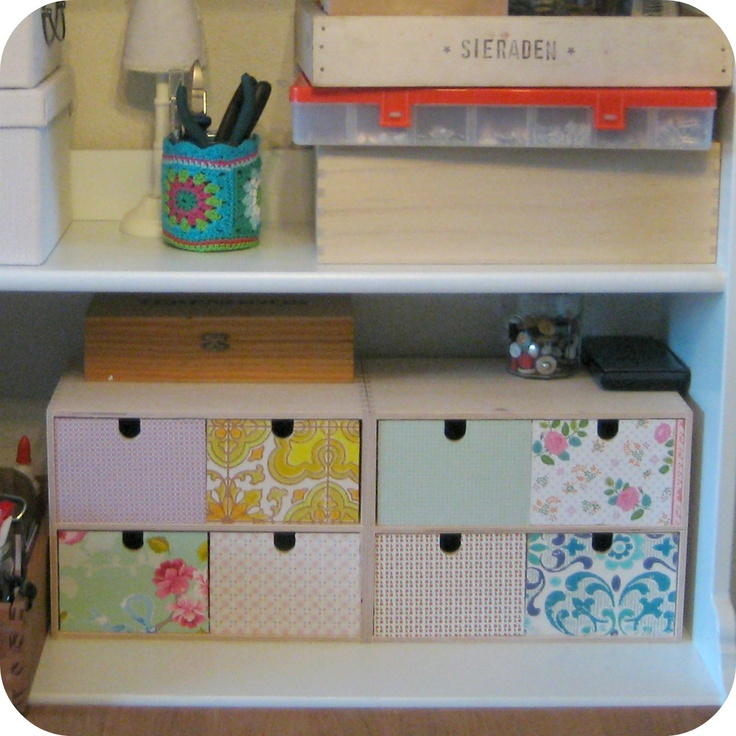 Ikea cabinets & (wall)paper / workspace