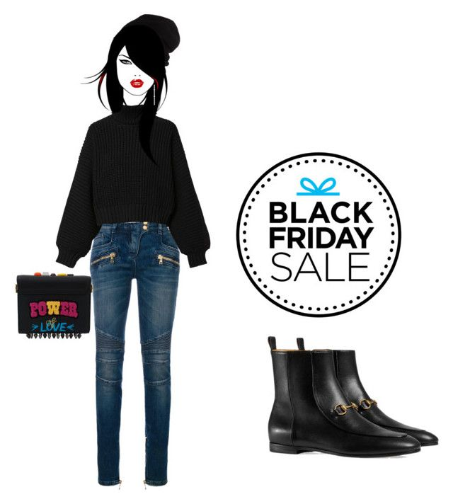 """Black Friday"" by anna17682 on Polyvore featuring Balmain, Diesel, SCHA, Dolce&Gabbana e Gucci"