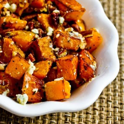 Roasted Butternut Squash with Rosemary, Pecans, and Gorgonzola Cheese; I'm a huge butternut squash fan, and this is one of my favorite ways to cook it.  [from KalynsKitchen.com] #ButternutSquash #HealthyThanksgiving