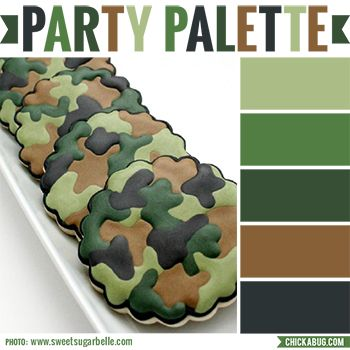 "Camo colors are a must for an army theme party! These camouflage cookies by Sweet Sugarbelle are perfect inspiration for a camo color palette in moss greens, brown, and charcoal. Photo: Sweet Sugarbelle Check out more ""Party Palettes"" (color palettes to inspire your party planning) here. ..."