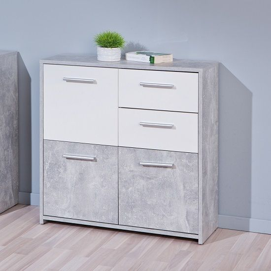 Nicole Compact Sideboard In Light Grey And White With 3 Doors