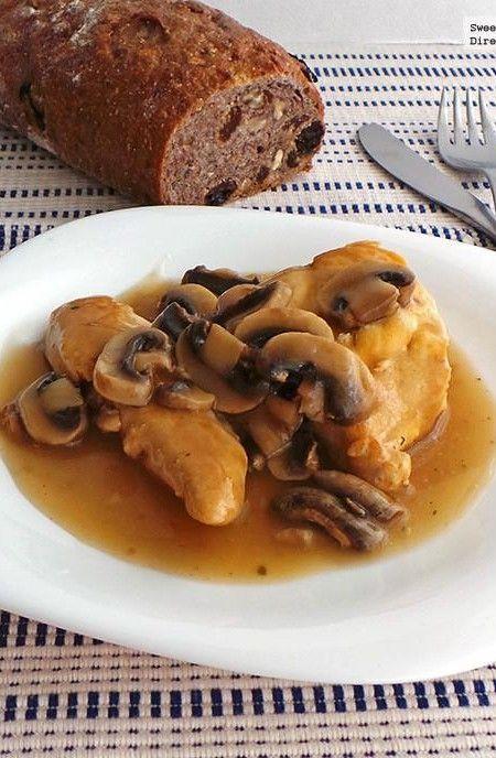 Pechugas de pollo en salsa de champiñones. Receta