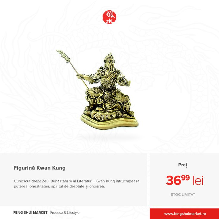 Kwan Kung este un simbol Feng Shui extrem de puternic care aduce noroc în afaceri și în dezvoltarea personală. Acesta nu numai că asigură o puternică protecție împotriva energiilor negative, ci și aduce bogăție, grandoare, curaj și încredere în sine.  Această zeitate este temută de toate spiritele rele și venerată de toți cei cu sufletul curat. Îi protejează pe cei drepți și îi apără pe inocenți în fața spiritelor. Achiziționează figurina: http://bit.ly/figurina-kwan-kung