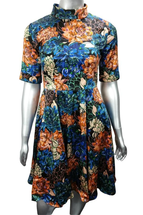 Blue and orange floral roll neck work midi dress