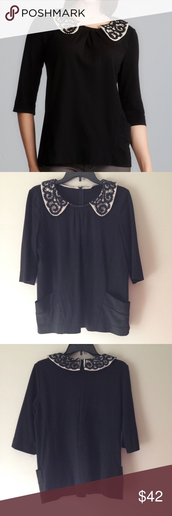 """Sinequanone Lace Collar Black Blouse Top Sinequanone Lace Collar Black Blouse Top. Designed in Paris. Back Concealed Zipper Closure. Round Neckline. Beautiful Lace Collar, 2 Front Pockets. Length 28"""", Chest 21"""". No Size Tags. Stretchy. Excellent Pre-Worn Condition. No Visible Stains, Fading or Flaws. Retail $228.00 #0212171807 ✨Please keep in mind that measurements are provided only as a guide and are approximate. Color appearance may vary depending on your monitor settings. Anthropologie…"""