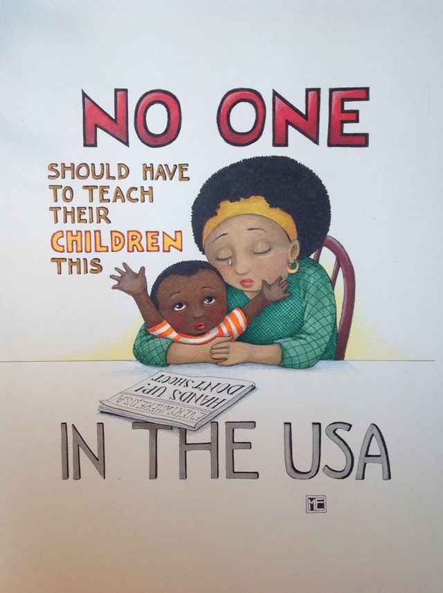 "Illustrator Mary Engelbreit Blasted Over Ferguson Artwork -- While much of the feedback was supportive, the post attracted enough anger that it became the subject of local media coverage. Facebook pundits vented racist conspiracy theories, accused Engelbreit of ignoring the plight of law enforcement, and challenged her to ""please draw a card that also shows stealing and intimidating store clerks.""  http://news.artnet.com/in-brief/beloved-illustrator-blasted-by-fans-over-ferguson-artwork-83486"