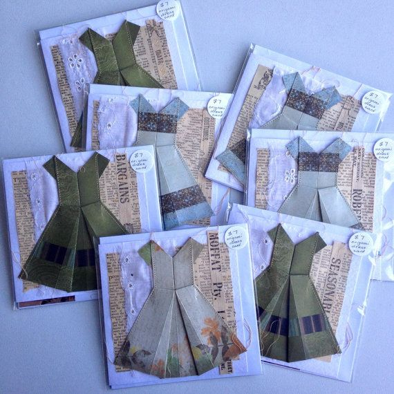 origami dress card by gonerustic on Etsy