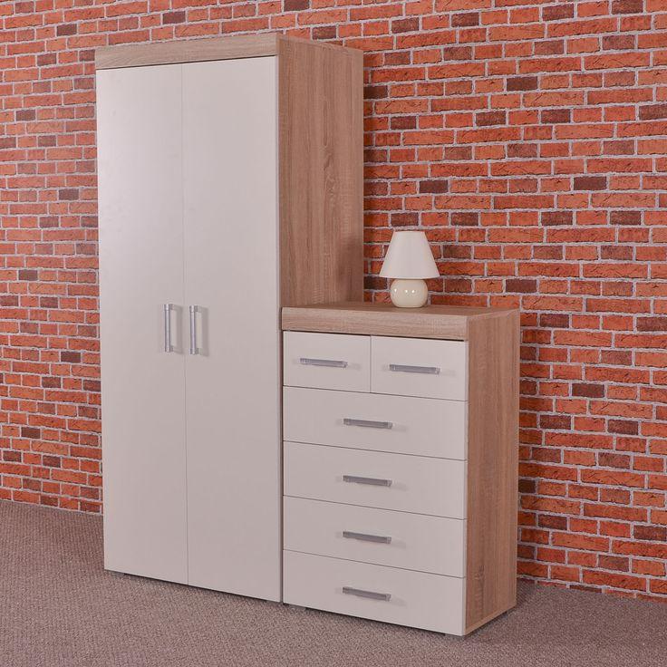 Elegant  White sonoma oak door wardrobe u chest of drawers