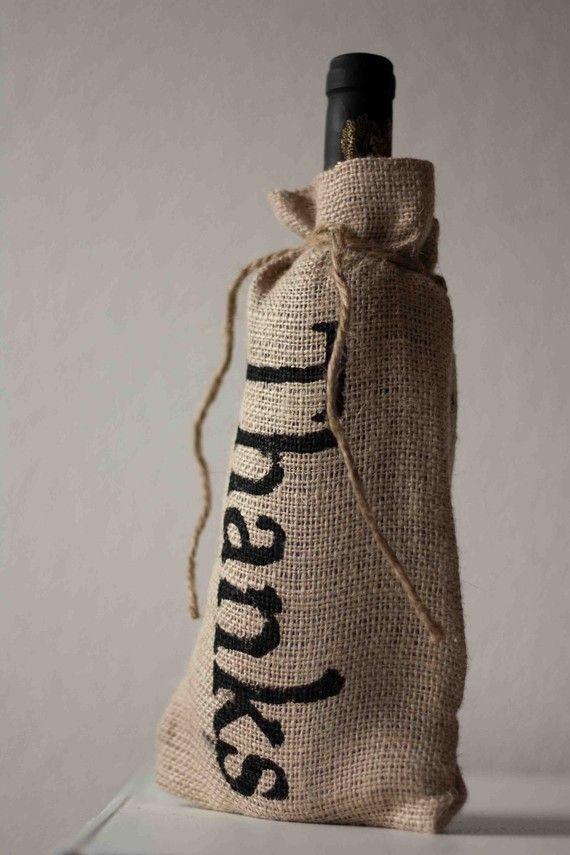 "Burlap bottle bag ""thanks"""