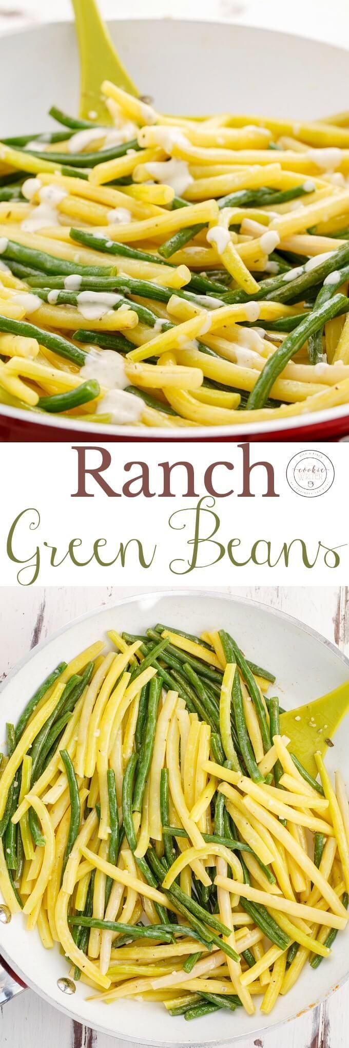 Ranch Green Beans | http://thecookiewriter.com | @thecookiewriter | #stringbeans | The easiest side dish for Thanksgiving, Christmas, or Easter! No bacon here, but turkey bacon would make a great addition. A great way to get your veggies in all the while using ranch dressing :) Gluten-free and vegetarian friendly!