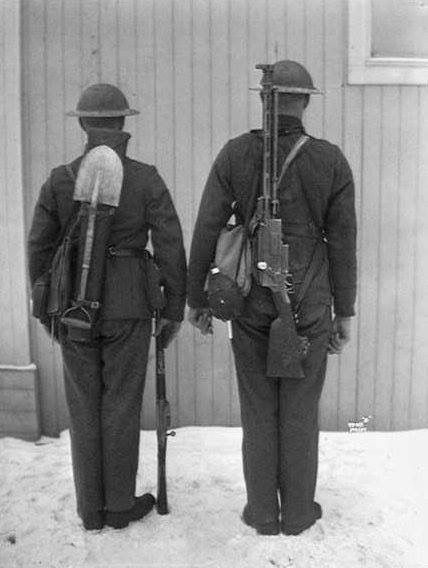 Norwegian Army two-man Madsen light machine gun crew, 1928.