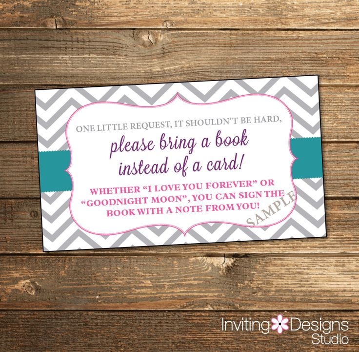 baby shower invitation wording for bringing diapers%0A Book Insert Card  Bring a Book  Baby Shower  Chevron  Floral  Grey