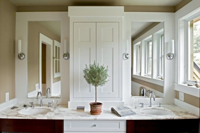 vanity mirrors separated by built-in cabinet.  topiary.Bathroom Design, Masterbath, Bathroom Storage, Beautiful Bathroom, White Bathroom, Contemporary Bathroom, Bathroom Cabinets, Master Bathroom, Farmhouse Bathroom