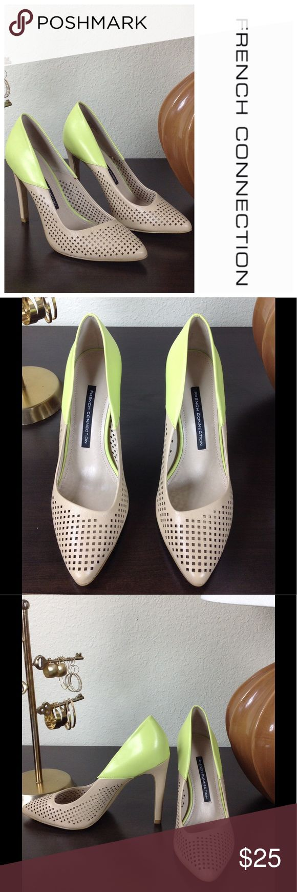 FRENCH CONNECTION Size 8/38 Gorgeous French Connection nude and lime green pumps with letter cut out detail. Worn only a few times. Excellent condition! French Connection Shoes Heels
