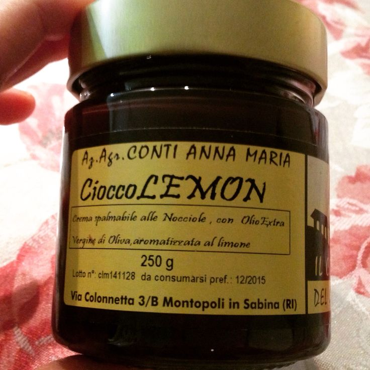 Chocolate-Lemon spread. It's as good as it sounds. And it's all made with olive oil instead of palm oil! Yum!!!