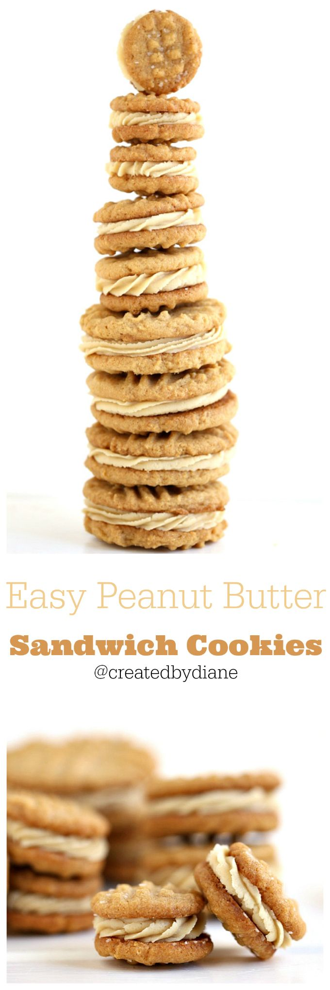 3 ingredient peanut butter cookies filled with peanut butter frosting @creaetedbydiane