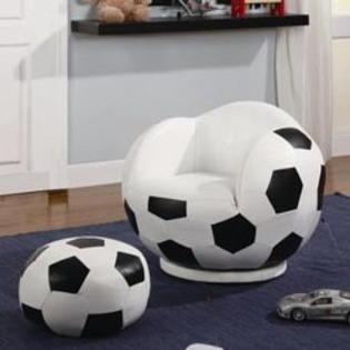 Kids Sports Chairs Small Kids Soccer Ball Chair and Ottoman by Coaster Black and White- Coaster Company