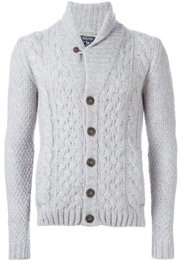 Sky grey wool cable knit buttoned cardigan from Woolrich.