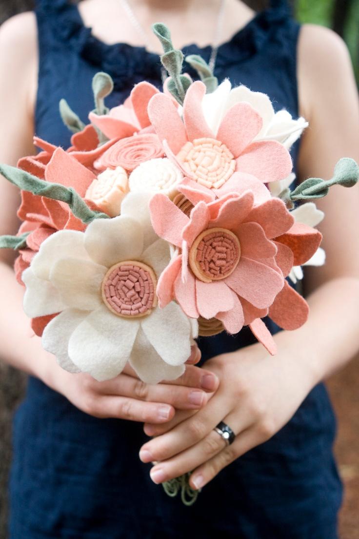 Custom Wedding Wildflower Felt Bouquet - Alternative Bouquet - Wedding Flowers - Felt Bouquet -. $256.00, via Etsy.