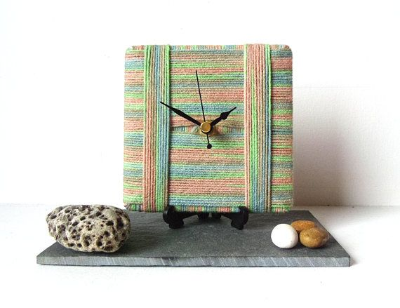 Wool Desk Clock / Small Wall Clock Stripe Wool by NaturalClocks, £10.00
