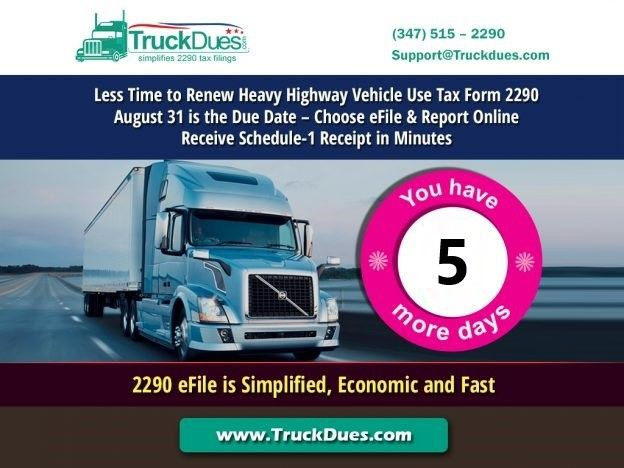 Truckers, it's the last week to E-renew your HVUT Form 2290