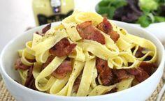 Ταλιατέλες με τυρί κρέμα και μπέικον