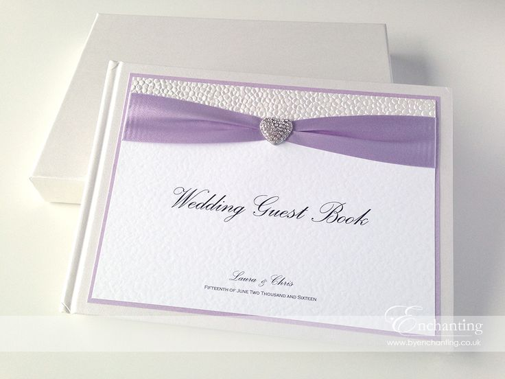 Lilac Wedding Stationery | The Ariel Collection - Guest Book | Featuring white pebble paper, purple lilac ribbon and diamaté heart embellishment | Luxury handmade wedding invitations and stationery #byenchanting