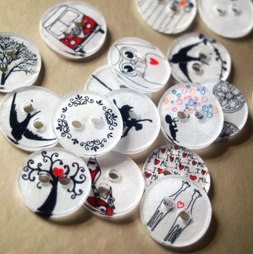 Handmade buttons using shrink plastic ~ functional art!!! =) I love the idea of using this idea for different types of garland as well...