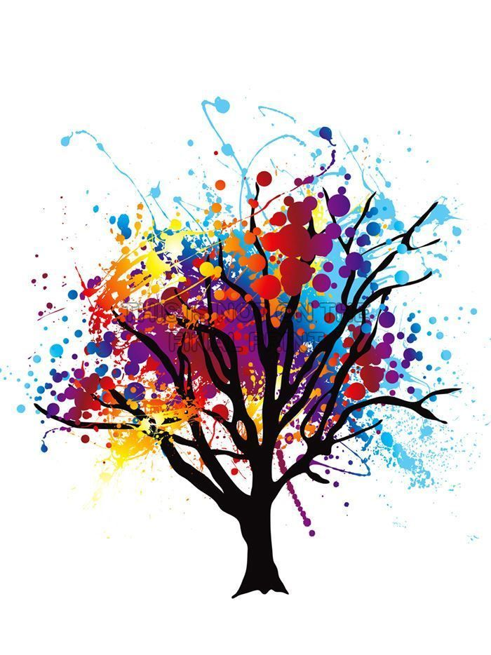 PAINT SPLAT ABSTRACT TREE RAINBOW PHOTO ART PRINT POSTER PICTURE BMP514A