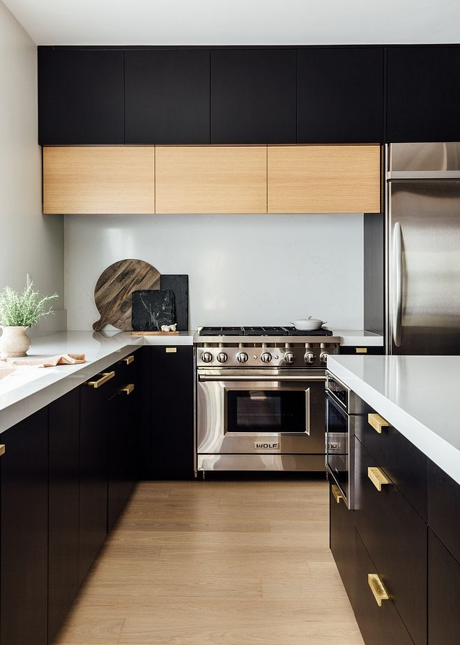 Modern Farmhouse Black Kitchen Modern Farmhouse Black Kitchen With Streamlined White Oak Hood Modern Black Kitchen White Modern Kitchen Black Kitchen Cabinets