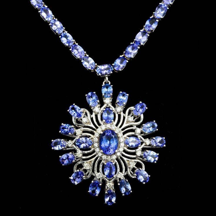 14K WHITE GOLD 43CT TANZANITE 1.00CT DIAMOND NECKLACE
