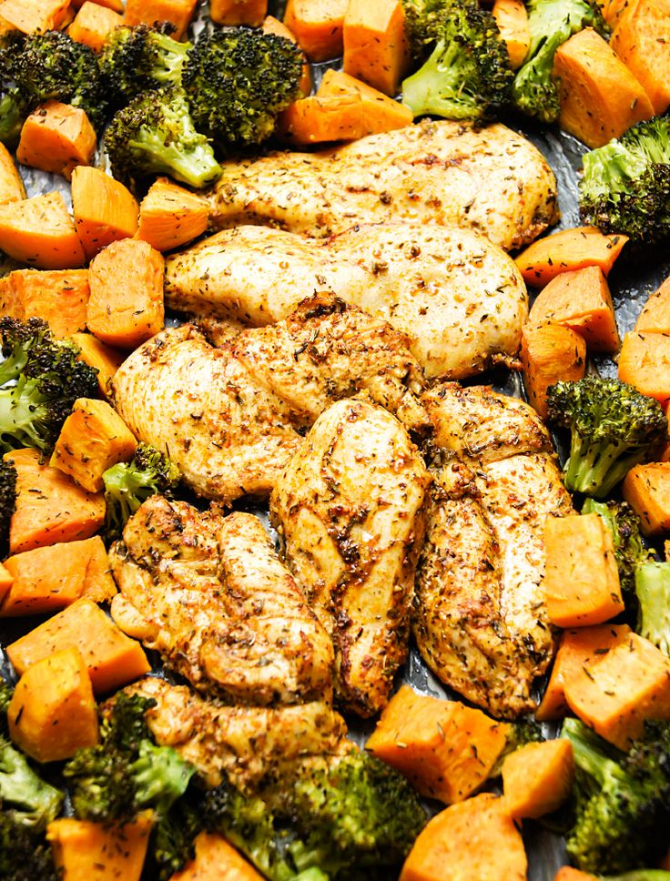 Sheet pan chicken with sweetpotato and broccoli