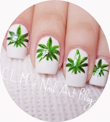 Weed nail art for 420 celebrators.