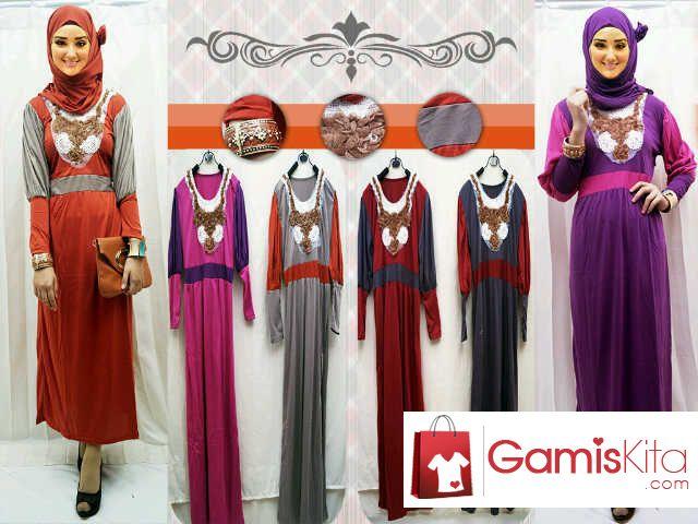 Gamis Renda Pashmina, gamis dengan moedl hijaber seri Renda, satu set terdiri dari gamis, pashmina dan bros. Gamis renda dengan lengan balon, krancang renda pada dada, variasi dua warna dan pashmina polos satu warna, gratis bros.