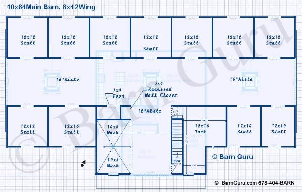 Barn 3 layout 11 stalls with own runs boarding family for Pole barn floor plans with living quarters