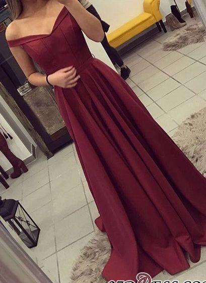 Off-the-Shoulder Burgundy A-line Teens Elegant Prom Dresses BA4791_High Quality Wedding Dresses, Prom Dresses, Evening Dresses, Bridesmaid Dresses, Homecoming Dress - 27DRESS.COM
