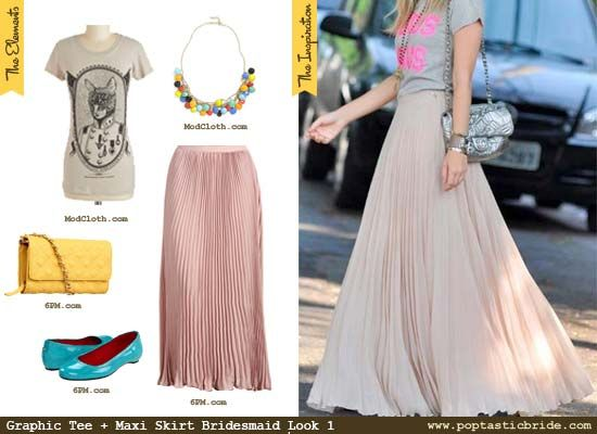 Bridesmaid Fashion: Graphic Tees and Maxi Skirts! 3 Ways – Pleats, Polka Dots, and Sequins