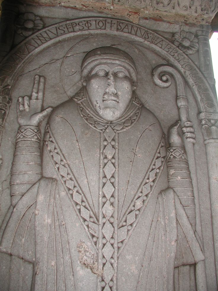Detail of the pier with the relief of Abbot Durandus, Saint-Pierre, Moissac, France, ca. 110-1115.  Limestone, 6′ high.