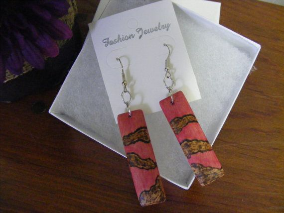 Pink earrings fuchsia earrings wod burning earrings by byRickMarsh