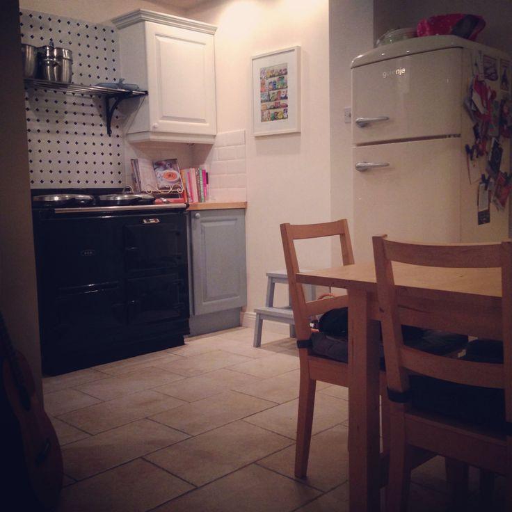 My kitchen. Navy Aga and Gorenje fridge - two of my favourite things!