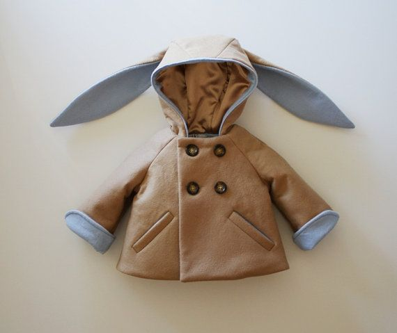 Little Rabbit Coat in Blue. Little Rabbits cozy and warm. Adorable.