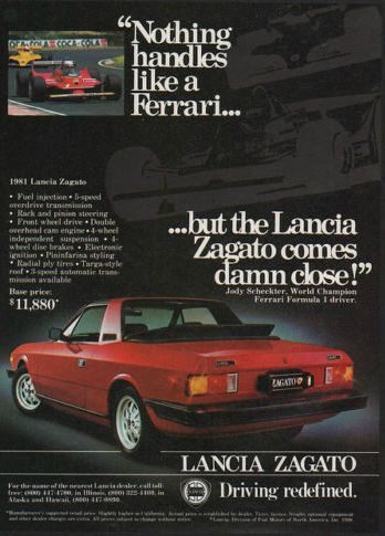 An Original 1981 Advertisement For Lancia Zagato Sports Car In Red