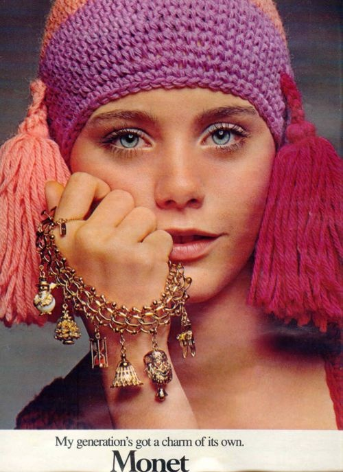 Susan Dey for Monet - I know this is crochet, but the tassels are cute...could be done with a knit hat.