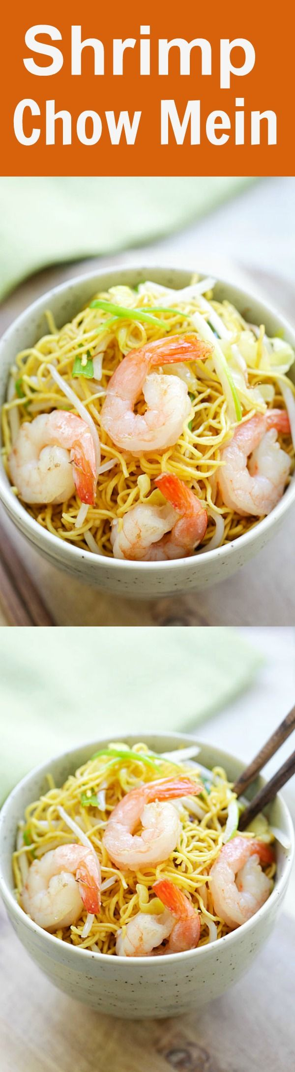 Shrimp Chow Mein - BEST shrimp chow mein recipe ever! This homemade chow mein is loaded with shrimp and so much better than takeouts | rasamalaysia.com