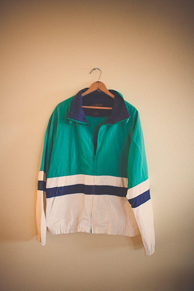 90's Kelly Green Navy Blue Ivory Windbreaker Oversized Nylon Wind Breaker Eddie Bauer Jacket Coat Size  Large L  Club Ravewear Clubkid by 7CitiesVintage on Etsy