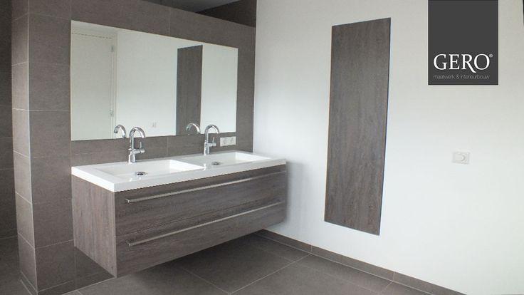 GERO Maatwerk & Interieurbouw - Badkamermeubel 170, een kast verwerkt in de muur.  www.gero-interieurs.nl