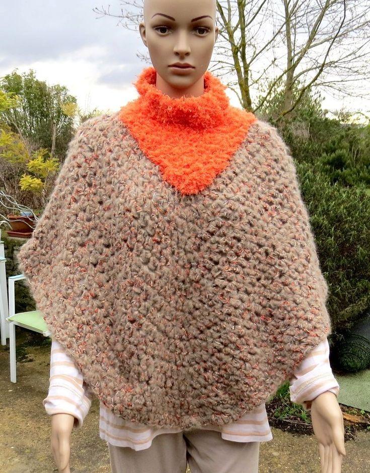 Poncho bicolore mohair crochet et tricot